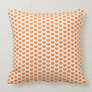 Cute Orange Hearts Pattern on White and Black Throw Pillow