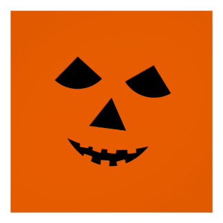 Cute Orange Jack o Lantern Pumpkin Face Halloween Posters