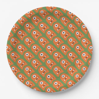 Cute Orange Monsters Paper Plate