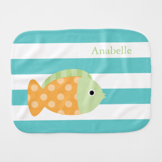 Cute Orange Orange and Green Fish Baby Burp Cloth