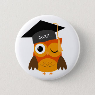 Cute Orange Owl | Custom Class Of Graduation 2 Inch Round Button