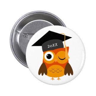 Cute Orange Owl   Custom Class Of Graduation 2 Inch Round Button