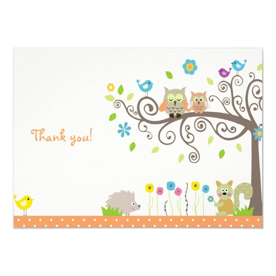 Cute Orange Owl Neutral Baby Shower Thank You Card