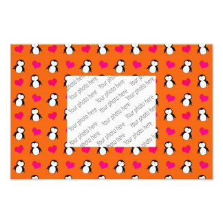 Cute orange penguin hearts pattern photo art