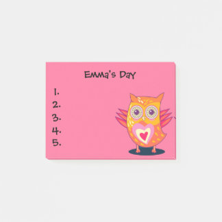 Cute Orange Pink Owl Child's To Do List Post It Post-it Notes