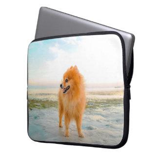 Cute Orange Pomeranian on the Beach Laptop Sleeve