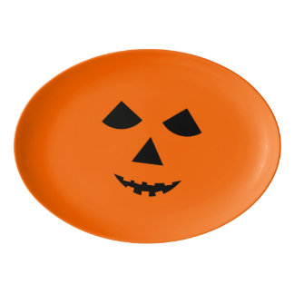 Cute Orange Pumpkin Face Halloween Party Porcelain Serving Platter
