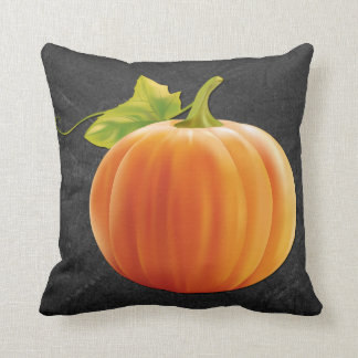 Cute orange Pumpkin On Chalkboard Throw Pillow