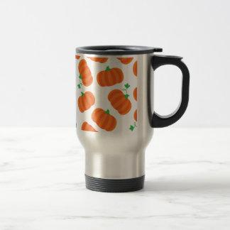 Cute Orange Pumpkin Patch Green Stem Autumn Design Travel Mug