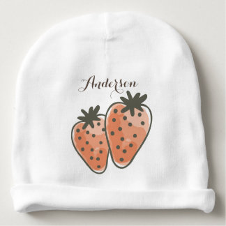 CUTE ORANGE RED WATERCOLOUR STRAWBERRIES MONOGRAM BABY BEANIE