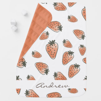 CUTE ORANGE RED WATERCOLOUR STRAWBERRIES MONOGRAM BABY BLANKETS