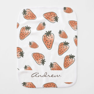 CUTE ORANGE RED WATERCOLOUR STRAWBERRIES MONOGRAM BURP CLOTH