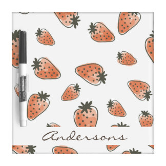 CUTE ORANGE RED WATERCOLOUR STRAWBERRIES MONOGRAM DRY ERASE BOARD