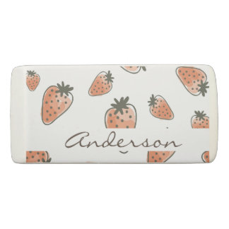 CUTE ORANGE RED WATERCOLOUR STRAWBERRIES MONOGRAM ERASER