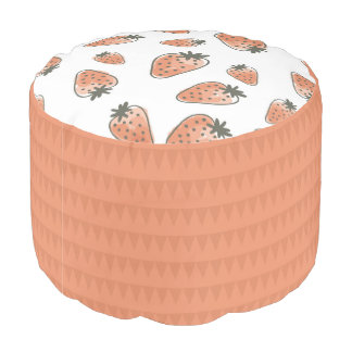 CUTE ORANGE RED WATERCOLOUR STRAWBERRIES MONOGRAM POUF