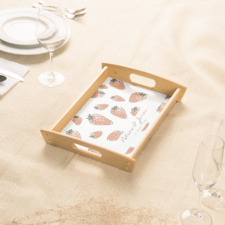 CUTE ORANGE RED WATERCOLOUR STRAWBERRIES MONOGRAM SERVING TRAY