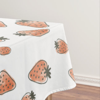 CUTE ORANGE RED WATERCOLOUR STRAWBERRIES MONOGRAM TABLECLOTH