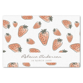 CUTE ORANGE RED WATERCOLOUR STRAWBERRIES MONOGRAM TISSUE PAPER