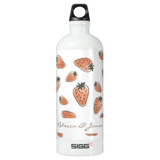 CUTE ORANGE RED WATERCOLOUR STRAWBERRIES MONOGRAM WATER BOTTLE