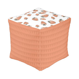 CUTE ORANGE RED WATERCOLOUR STRAWBERRIES POUF