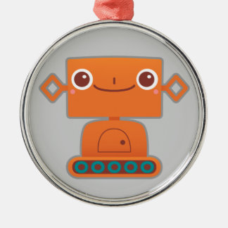 Cute Orange Robot on Grey Ornaments