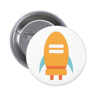 Cute Orange Rocket Ship Spaceship 2 Inch Round Button