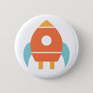 Cute Orange Rocketship Spaceship 2 Inch Round Button