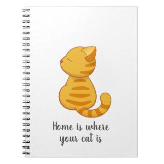 Cute Orange Tabby Cat Quote Spiral Notebook