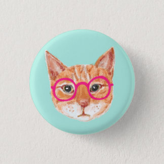 Cute Orange Tabby Cat Wearing Glasses 1 Inch Round Button