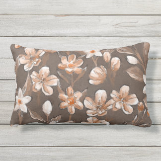 Cute Orange Taupe Dark Brown Pretty Flower Pattern Outdoor Pillow