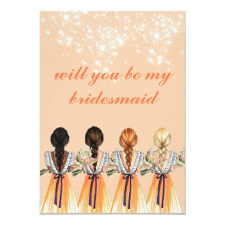 cute orange will you be my bridesmaid Invitation