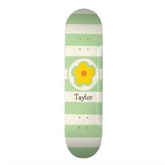Cute Orange Yellow and Green Flower Skate Board Deck