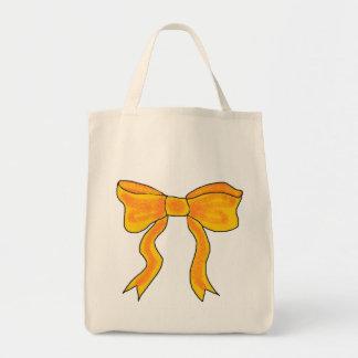 Cute Orange Yellow Bow Tote Bags