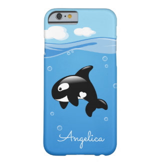 Cute Orca Whale in Ocean with Custom Name Barely There iPhone 6 Case