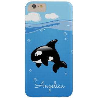 Cute Orca Whale in Ocean with Custom Name Barely There iPhone 6 Plus Case