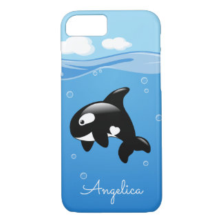 Cute Orca Whale in Ocean with Custom Name iPhone 8/7 Case