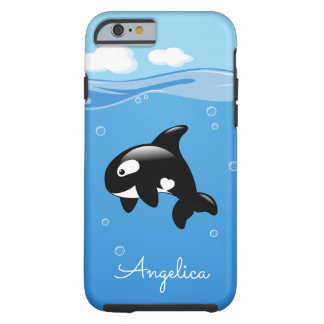 Cute Orca Whale in Ocean with Custom Name Tough iPhone 6 Case