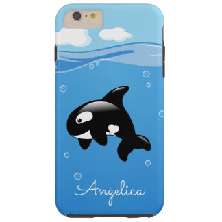 Cute Orca Whale in Ocean with Custom Name Tough iPhone 6 Plus Case