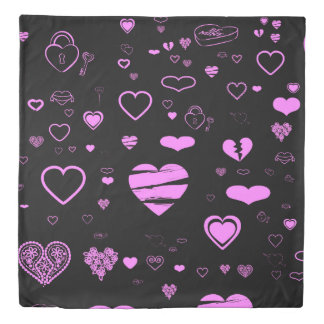 Cute Orchid Heart Modern Black Duvet Cover