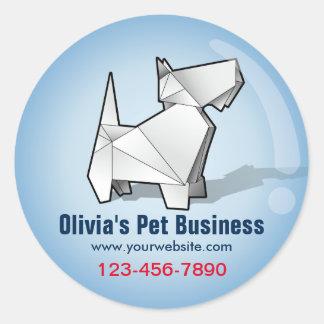 Cute Origami Dog Blue Bubble Pet Business Sticker
