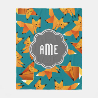 Cute Origami Foxes Monogrammed Fleece Blanket