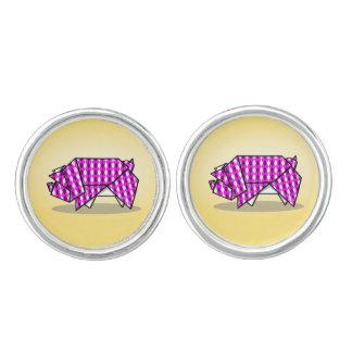 Cute Origami Pig Cufflinks