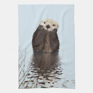 Cute Otter Standing in a Pond Holding his Face Kitchen Towel
