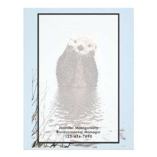 Cute Otter Standing in a Pond Holding his Face Letterhead
