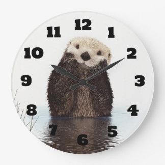 Cute Otter Wildlife Image Large Clock
