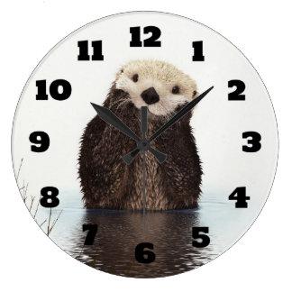 Cute Otter Wildlife Image Wall Clocks
