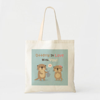 Cute Otterly in Love With You Otter Pun Tote Bag