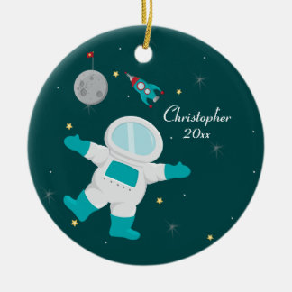 Cute outer space astronaut personalized ornament