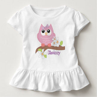 Cute owl add name toddler girls t-shirt