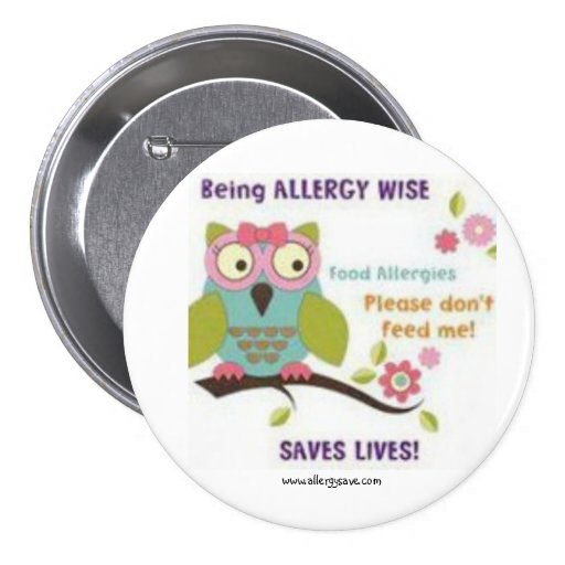 Cute Owl Allergy Badge (Button) - Large
